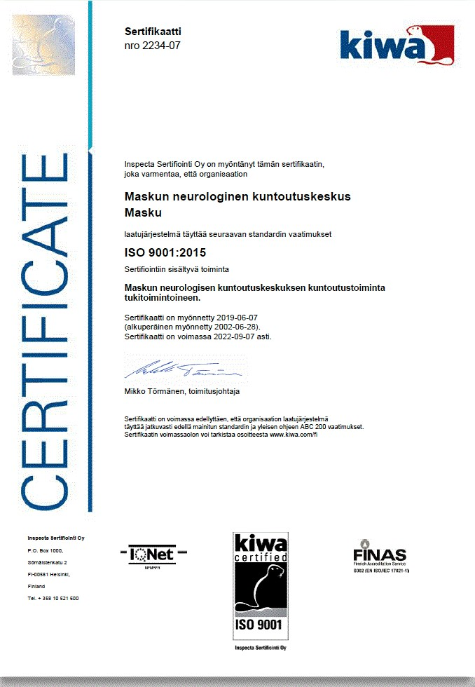 Kuva laatusertifikaatista